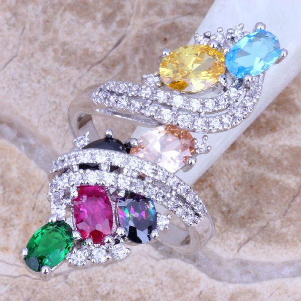 Sweet Multicolor Green Created Emerald 925 Sterling Silver Ring For Women Size 5 / 6 / 7 / 8 / 9 / 10 / 11 / 12 S0219