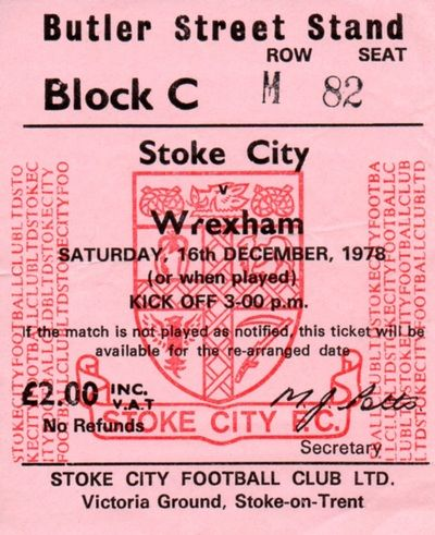 Stoke City vs Wrexham ticket stub, December 1978
