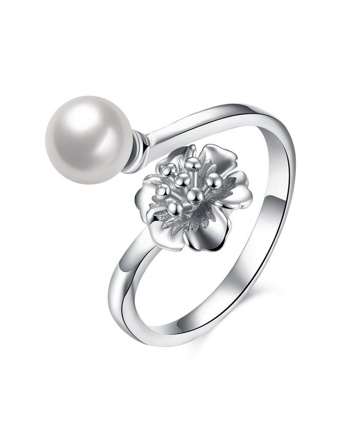 Ouruora 3D Flower and Pearl Adjustable Ring