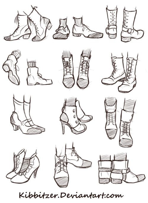 shoes reference sheet by *Kibbitzer this time someone asked me to draw shoes! I hope it will help you! Send me more suggestions! And supporting me on my patreon page you'll get doodles, drawings, prints, posters, PDS files and various rewards!