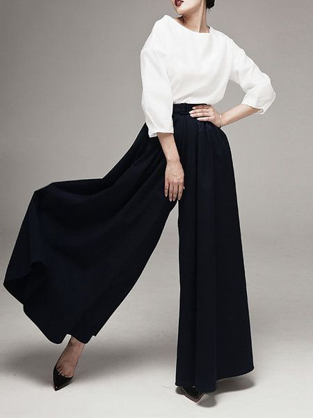 Shop Wide Leg Pants - Black Polyester Casual Wide Leg Pants online. Discover unique designers fashion at StyleWe.com.