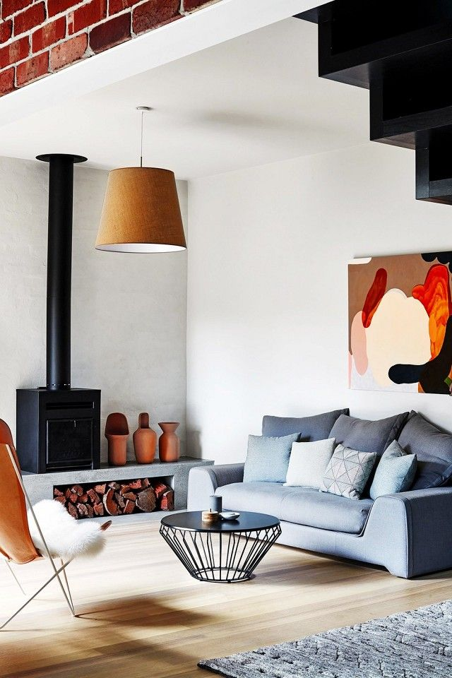 Modern living space with masculine lines and hues