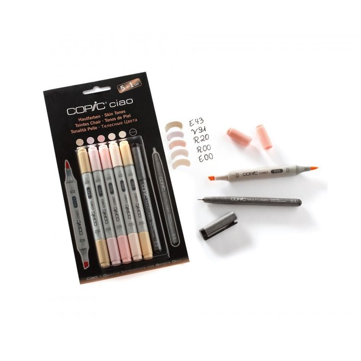 Copic Ciao Marker Pens Skin Tones Pack of 5 Plus Copic Multiliner - Semi-Permanent - Marker - Pens - Stationery