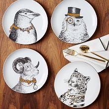 Gilded Dapper Animal Dinnerware Set http://www.westelm.com/shop/collaborations/rachel-kozlowski/?cm_type=lnav