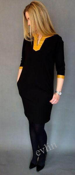 Sukienka z dodatkami z eko skóry musztarda w evlin na DaWanda.com