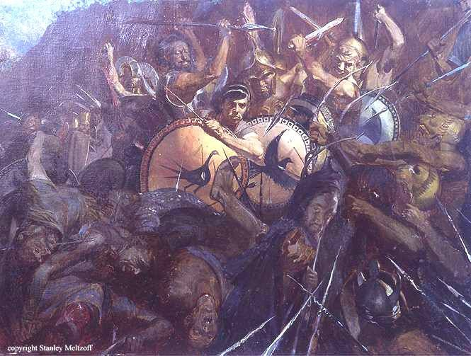victory of greece in the greco persian War between the achaemenid empire of persia and the city-states of greece,  499 to 449 bce  battle of marathon, greek hoplites on top, persians trampled.