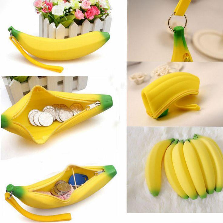 1 X Kawaii Unisex Men Women Girls Novelty Silicone Portable Banana Coin Pencil Pen Case Purse Bag Case Wallet Pouch Keyring