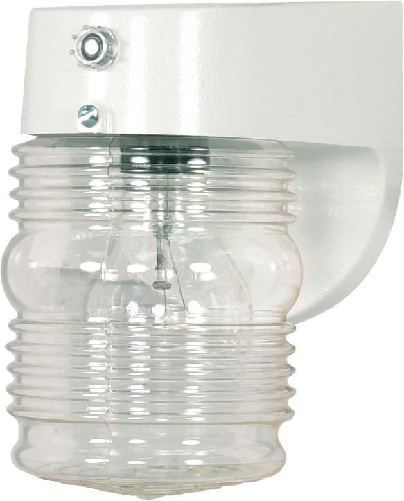 "1 Light - 8"" - Porch, Wall - Clear Mason Jar W Photoelectric Sensor"
