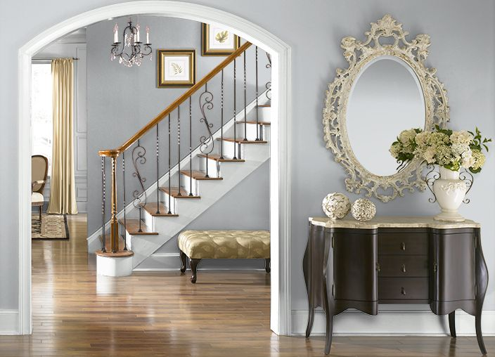 Behr Paint SILVER SHADOW(N510-1) for the Entryway, Stairway, Upstairs Hallway