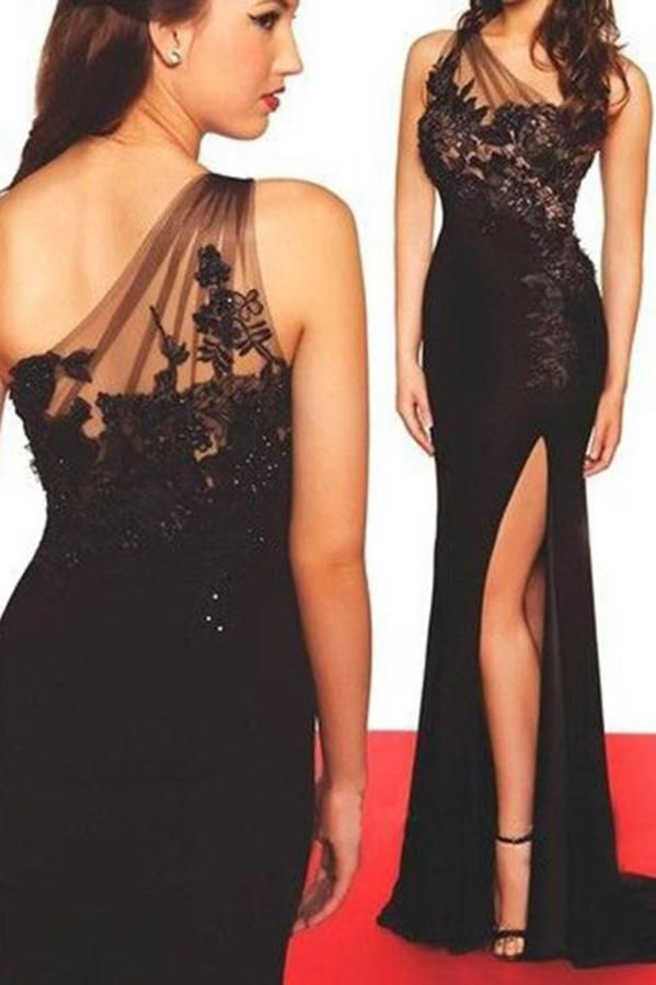 c35c03e81f3 Sexy High Side Split Black Prom Dress One Shoulder Chiffon Lace Evening  Dress PD065