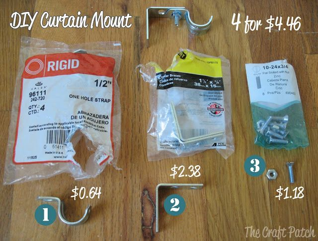 Make your own pieces to mount curtain rods with stuff from your local hardware store. Much cheaper!