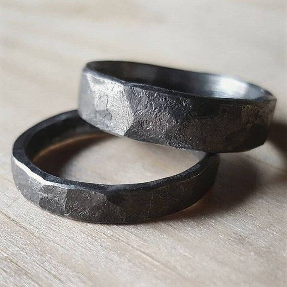 Rustic Forged Hammered Iron Ring Unique Men S Ring Made