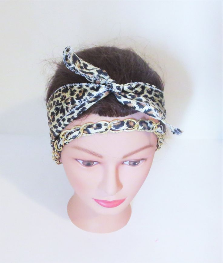 Brown Leopard Print Head Scarf, Chained Scarf Headwrap, Double wrap Head Scarves, Natural Animal Print Accessories, Gifts For Her, Trendy by TiStephani on Etsy