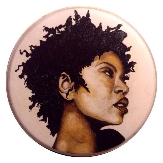 Portrait of Lauryn Hill on Used Drum Skin  by NicoleDiNardoArt, $150.00