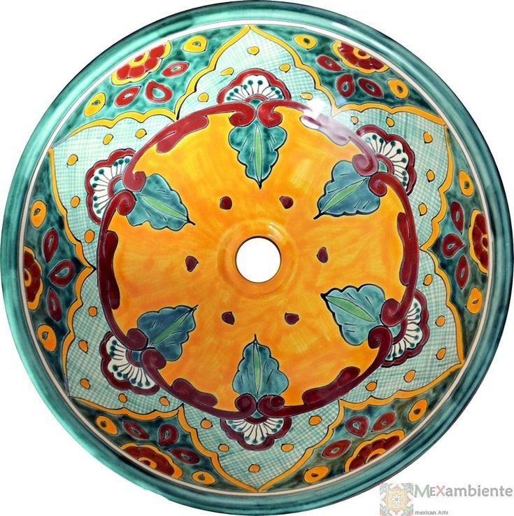 ------------------- Motiv: VERANO Form: MEX5 - kreisförmig Einbau: als Aufsatzwaschbecken Maße: 44 cm x 15 cm Gewicht: 4 Kg Material: Keramik Hintergrundfarbe: Mexikanisches Weiss (Perlweiss) Ablaufloch: 1 1/4'' Standard, ohne Überlauf.