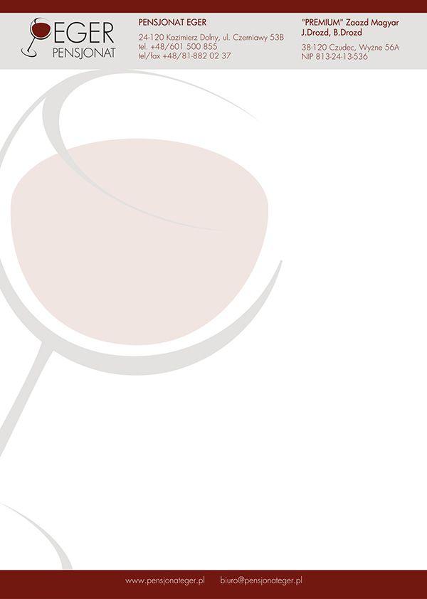Papier firmowy firmy Eger jest elementem identyfikacji wizualnej w której skład wchodzi: logo, wizytówki i papier firmowy.