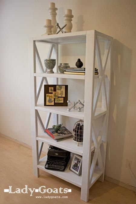 I love this set!  Rustic X Tall Bookshelf - there are also plans for a sofa table, coffee table, and end table to match!