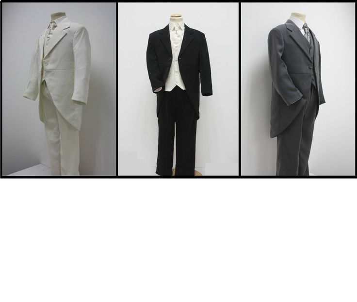 Boys Suits 5 Piece Tail Morning Suit Black Grey Cream Wedding Page Boy Formal