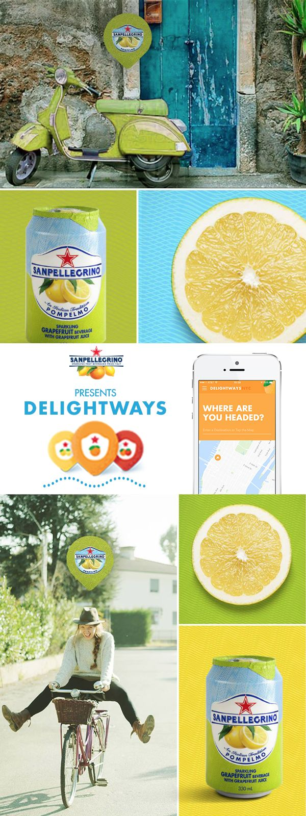 It's the little things that bring the most joy in life: the smell of sun-ripened fruit; the sparkling sips of a Sanpellegrino® Pompelo; or a sunny sky on a leisurely bike ride. These are what we call The Life Deliziosa. Find your own moments and savor in every sip with the Delightways app for iOS and Android.