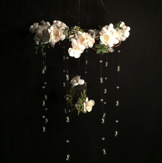 SALE! Victorian ivory Cherry Blossom crystal baby mobile, cherry blossom and bird cage crystal baby mobile, white flowers, woodland theme