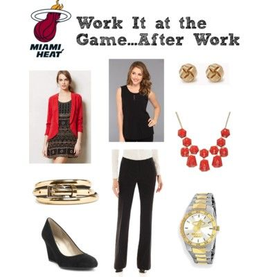 What to wear from the #office to the #Miami #Heat #basketball game. #women #fashion #style #sportsfans #necklace #earrings #watch #gold #wedge #suede #belt #red #blazer #jewelry #NBA #professional #work
