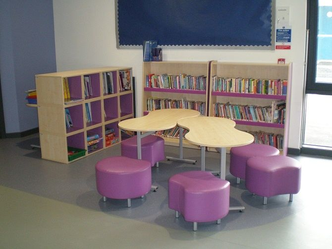 Trudy Bean Tables, Contour Seating, Bookcases And Colourboxes