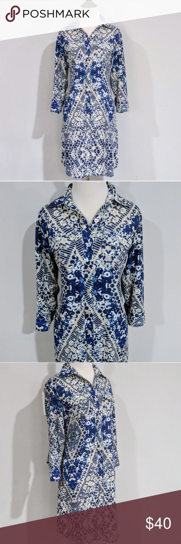 CAbit Button Down Shirt Dress Gorgeous button down shirt dress by CAbi in excellent condition. Perfect for dressing up or down. Super comfortable, very flattering! Great for spring! CAbi Dresses