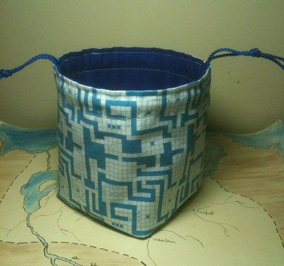 """Classic RPG Map dice bag, by Greyed Out.    5"""" tall when open, with a 4"""" square base that lets the dice bag sit open on the tabletop, for easy access to your dice.  Holds about 150 dice, and closes securely with a double drawstring.  #tabletop #rpg #roleplaying #greyedout #dungeonmap"""