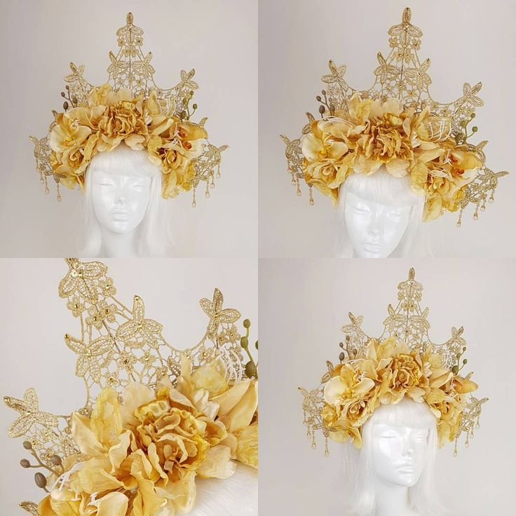 Photos of the golden lace and flower crown... it's an order for a customer