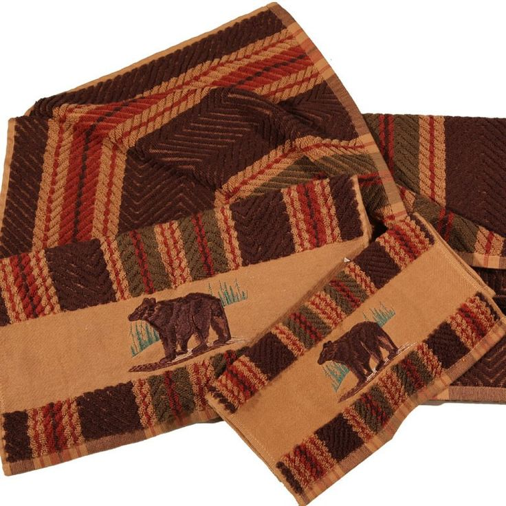 Western Themed Bath Rugs: Embroidered Bear Striped Towel Set