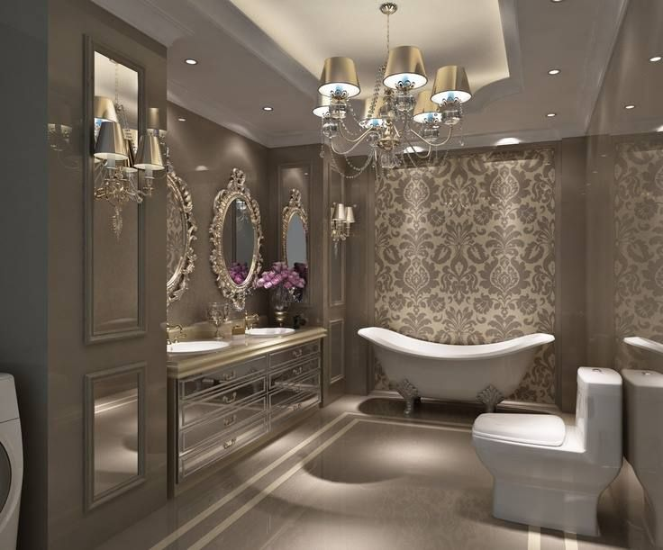 Beautiful, sophisticated master bathroom.
