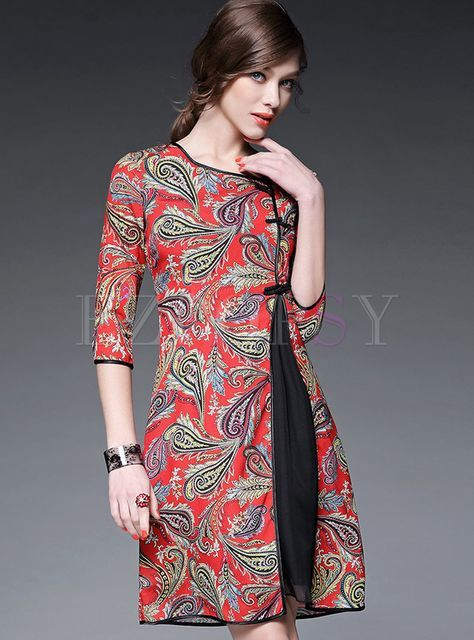 47ec7a39a40 Shop for high quality Vintage Print Patch Dress online at cheap prices and  discover fashion at Ezpopsy.com