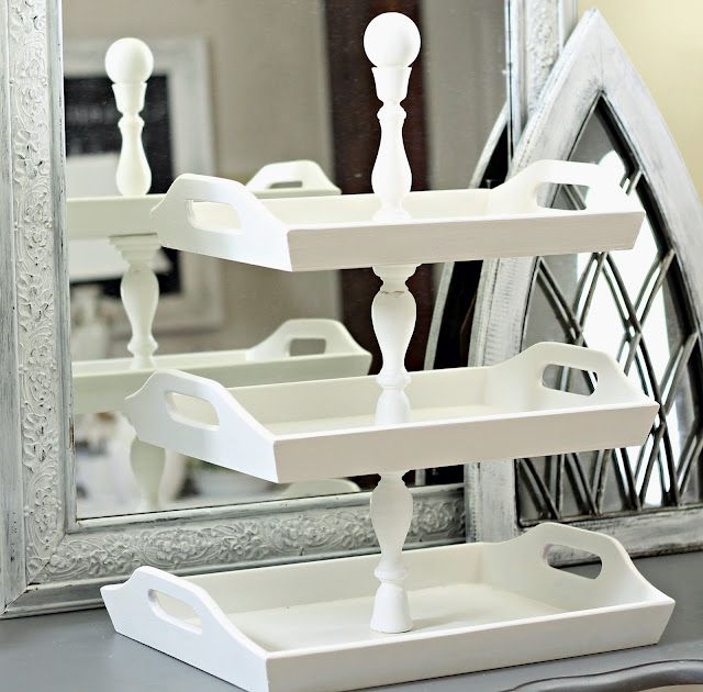 Shabby Sweet Cottage: Stacked Trays joined by wooden candle sticks!