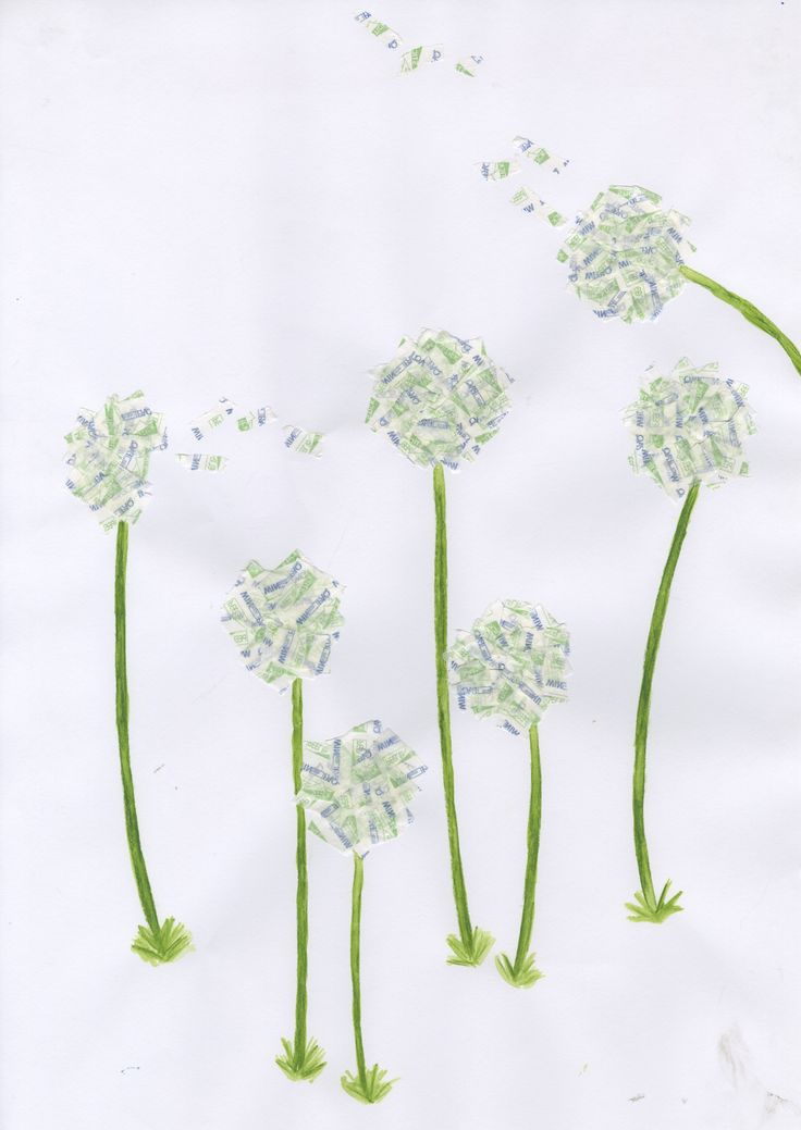 Dandelions made from envelope stickers