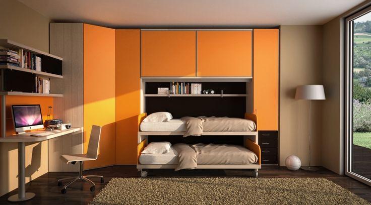 BADROOM - centri camerette specializzati in camere e camerette per ragazzi - Cameretta a ponte per ragazzi con due letti mini castello con ruote