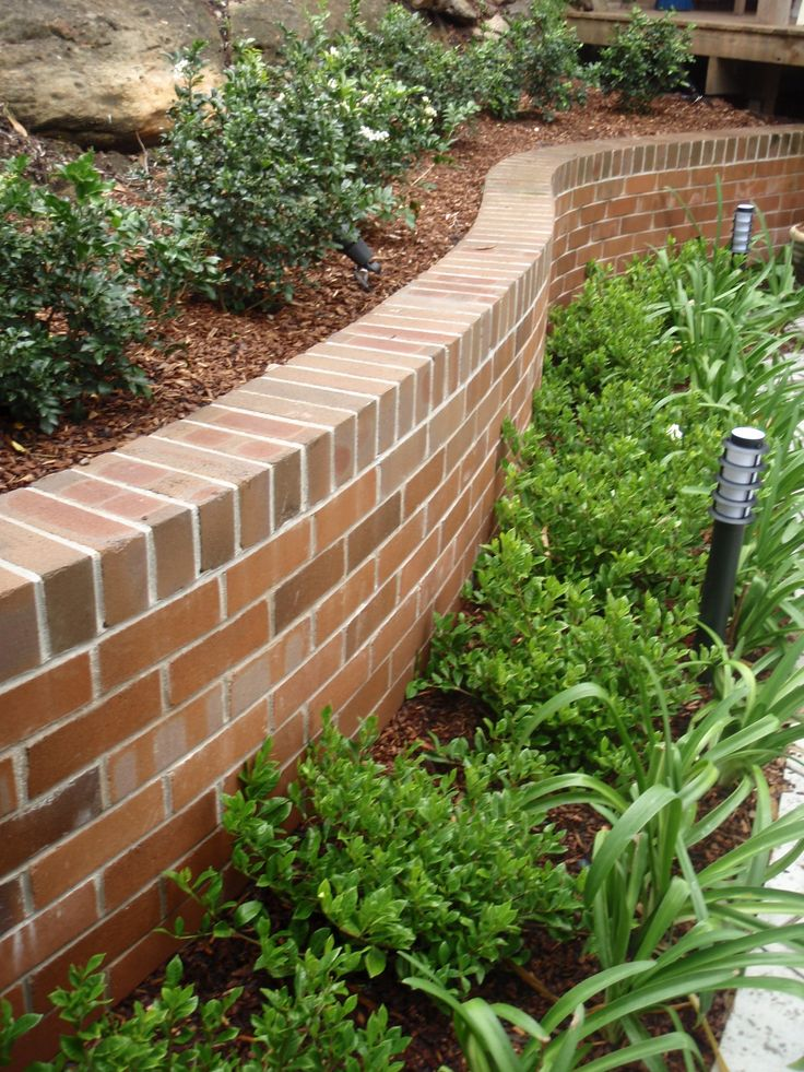 Curved brick walls with planting to soften hill for Garden windbreak designs