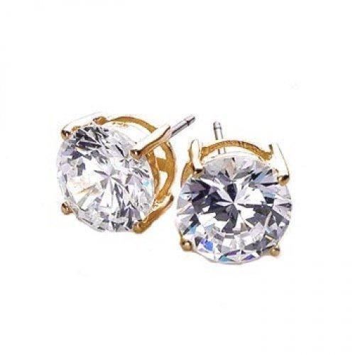 Bling Jewelry Mens Unisex Vermeil Gold CZ Stud Earrings 925 Sterling Silver 6mm