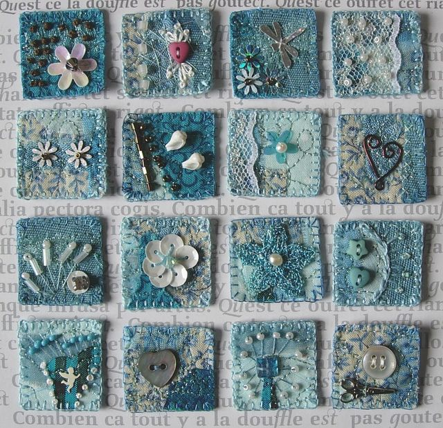 Aqua mixed media inchies - love the colour