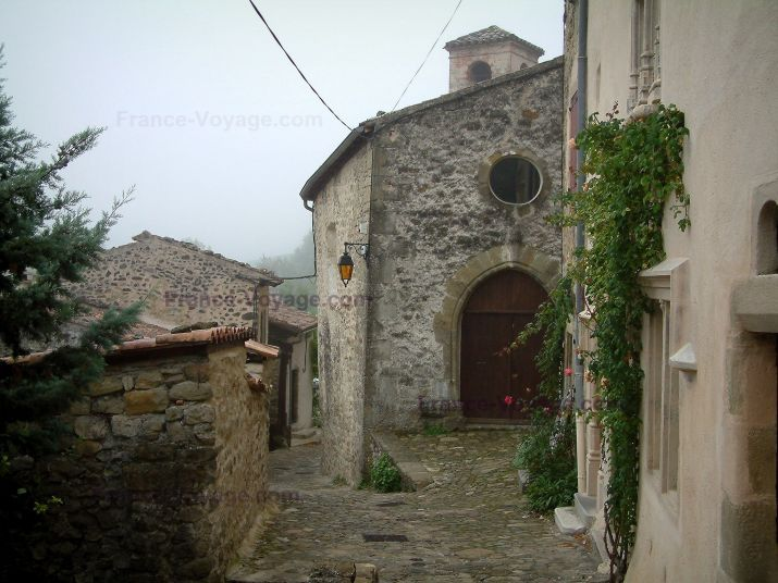 Bourdeaux: Straat geplaveid met stenen huizen en klimrozen (roze) - France-Voyage.com