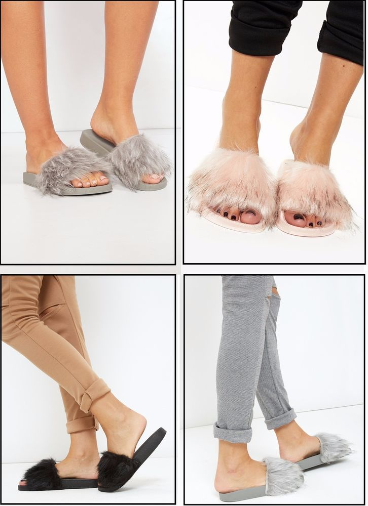 Womens Rubber Fur #Sliders Flip Flop Slip On Ladies Mules Fluffy #Slipper Sandals