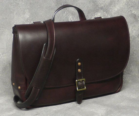 "Burgundy Horween Leather 16"" Messenger Bag, Wall Street Bag -  Parsons School of Design 2014 Alumni Exhibition Winner"