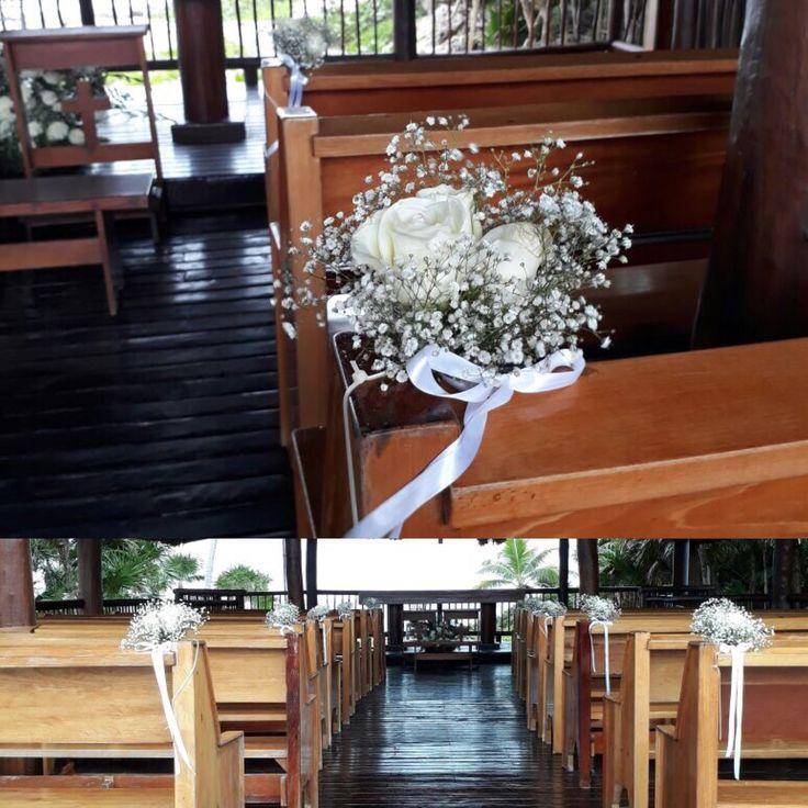 CBD227 aisle white decoration/ decoración camino iglesia flores blancas