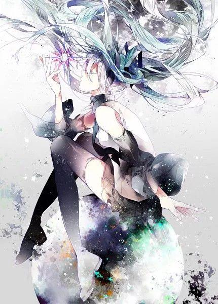Hatsune Miku. This is a cute pic. I wish I kinda looked like Miku
