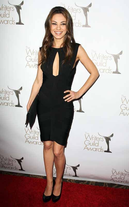 Mila Kunis. Sexy black dress.