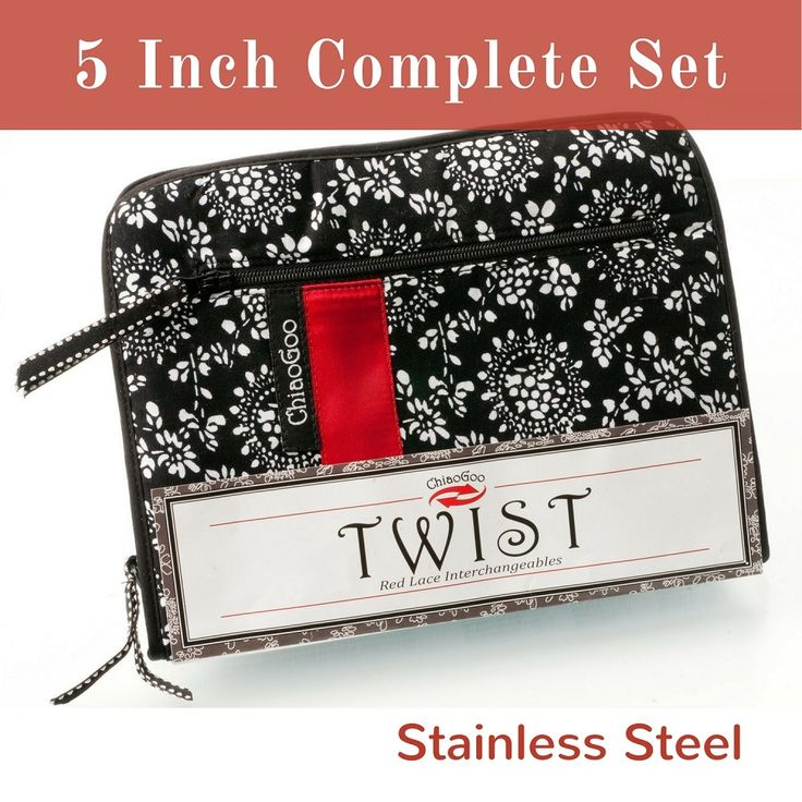 ChiaoGoo TWIST 5-Inch Stainless Steel Red Lace Interchangeable Knitting Needles - Complete Set