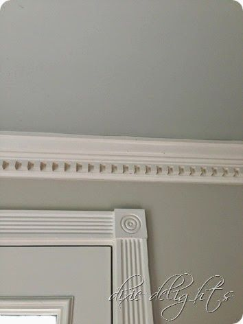Benjamin Moore | Quiet Moments on ceiling, Pale Oak on wall, Alabaster on trim