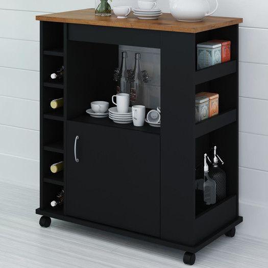 Altra Furniture Kitchen Cart with Wood Top in Black Kitchen Island
