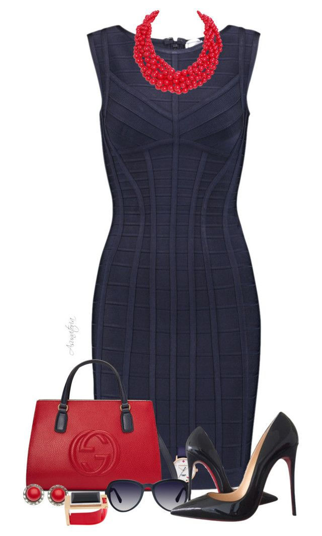 Sin título #2093 by asunvitoria on Polyvore featuring polyvore, мода, style, Hervé Léger, Christian Louboutin, Gucci, Humble Chic, Marni, Kate Spade, Derek Lam, fashion and clothing