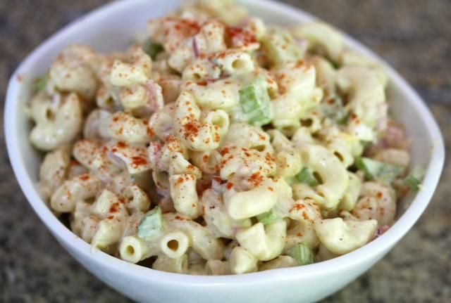 A classic macaroni salad recipe, made with chopped vegetables and mayonnaise, along with seasonings and hard cooked eggs. It's a tasty, delicious salad for any occasion.