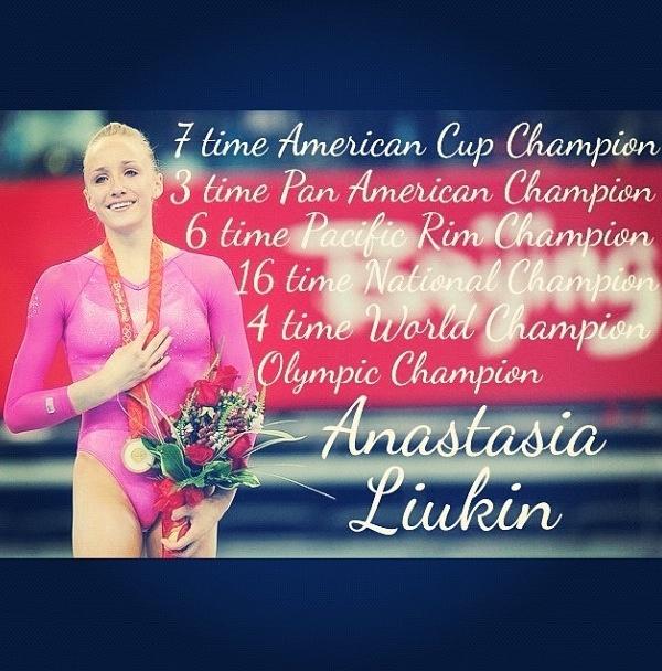 7 time American Cup champion, 3 time Pan American champion, 6 time Pacific Rim champion, 16 time National champion, 4 time World champion, Olympic champion: Anastasia Liukin